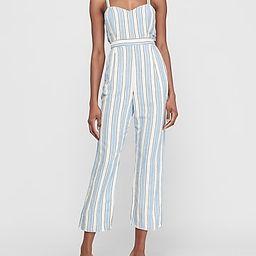 Striped Linen-blend Cross-back Wrap Jumpsuit   Express