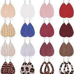 Anlsen 16 Pairs Leather Earrings for Women Teardrop Leaf Print Petal Leopard Flower Lightweight D...   Amazon (US)