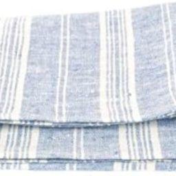 "LinenMe Set of 2 Multistripe Linen Hand Towels, 18 by 28"", Blue White, Prewashed 100% European Li... | Amazon (US)"