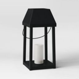 Metal Outdoor Lantern with Black Hood and Candle Black - Threshold™   Target