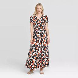 Women's Floral Print Puff Short Sleeve Dress - Who What Wear™ Cream   Target