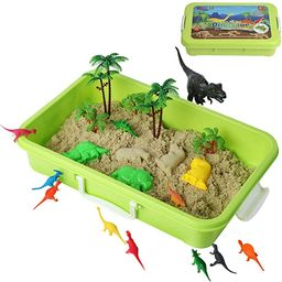 Dinosaur Play Sand Kit - 2 Bags of Sand and 34 Pieces - Feels Like Wet Sand Without The Mess - Co... | Amazon (US)