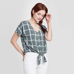 Women's Short Sleeve V-Neck Button-Down Relaxed Fit Shirt - Universal Thread™ | Target