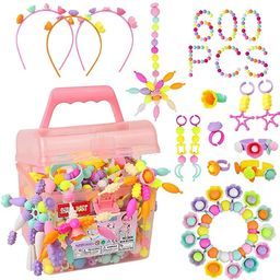 Pop Beads - 600+Pcs Pop Snap Beads Kit for Girls 3, 4, 5, 6, 7 ,8 Year Old to Make Hairband, Neck... | Amazon (US)