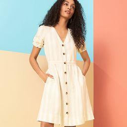 Striped Puff Sleeve Pocket Shirtdress | LOFT