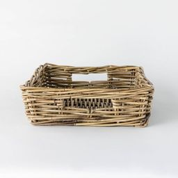 """17"""" x 5.5"""" Decorative Rattan Tray with Handles Gray - Threshold™ designed with Studio McGee   Target"""