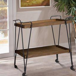 Zosia Ash Wood Mobile Serving Bar Cart | Wayfair North America