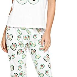 Women's Kitty Cat Print Tee and Polka Dot Pants Pajama Set | Amazon (US)
