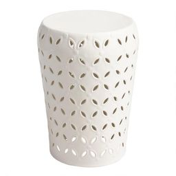 White Punched Metal Lili Accent Stool | World Market
