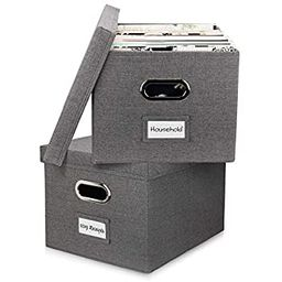 Beautiful File Organizer Box Set of 2 - Collapsible Linen Filing Boxes for Easy File Folder Stora... | Amazon (US)