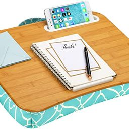 LapGear Designer Lap Desk with Phone Holder and Device Ledge - Aqua Trellis - Fits up to 15.6 Inc... | Amazon (US)