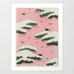 Vintage Pink Sky And Cloud Illustration Art Print | Society6