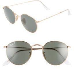 50mm Retro Inspired Round Metal Sunglasses   Nordstrom