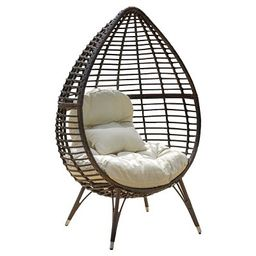 Cutter Teardrop Wicker Patio Lounge Chair with Cushion - Brown - Christopher Knight Home | Target