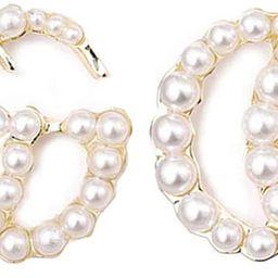 Luxury Letter G Pearl Initial Stud Earrings Drop Statement Earrings for Women   Amazon (US)