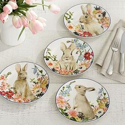 Floral Bunny Salad Plates, Set of 4 - Assorted | Pottery Barn (US)