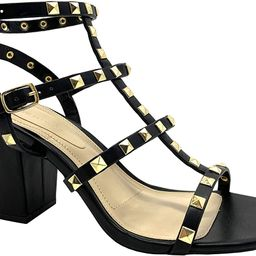 Womens Pointy Toe Gold Stud Strappy Ankle T-Strap Stiletto Heel Pump Sandal | Amazon (US)