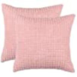 "Set of 2,Decorative Throw Pillow Covers 16"" x 16"" (No Insert),Solid Cozy Corduroy Corn Accent Squ... | Amazon (US)"