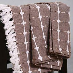 The Wish Tree Co. 50x60, Brown, 100% Cotton, Button Checks Farmhouse Throw Blanket with Fringe Ta... | Amazon (US)