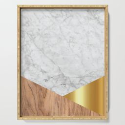 """Geometric White Marble - Wood & Gold #884 Serving Tray by Natural Collective - 18"""" x 14"""" x 1 3/4 