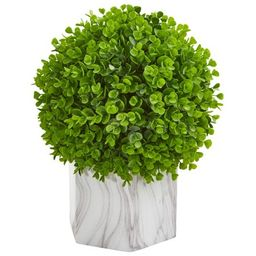Nearly Natural Eucalyptus Artificial Ball in Marble Finished Planter | Walmart (US)