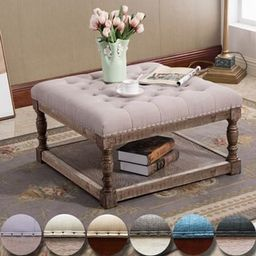 Cairona Fabric 30-inch Tufted Shelved Ottoman (Optional Colors) | Overstock