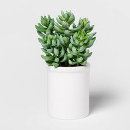 "8"" x 4"" Artificial Succulent in Ceramic Pot Green/White - Threshold™   Target"