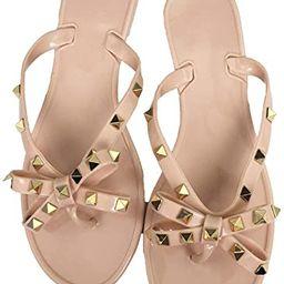 Mtzyoa Women Stud Bow Flip-Flops Sandals Beach Flat Rivets Rain Jelly Shoes | Amazon (US)