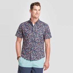 Men's Standard Fit Printed Short Sleeve Poplin Button-Down Shirt - Goodfellow & Co™ | Target