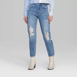 Women's High-Rise Distressed Cropped Mom Jeans - Wild Fable™ Medium Blue Wash | Target