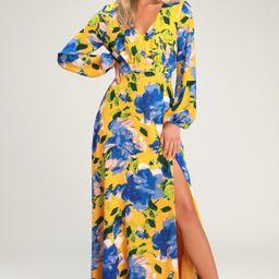 Carolita Yellow Floral Print Long Sleeve Maxi Dress | Lulus