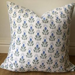 Caitlin Wilson Blue Lotus block print modern glam chic pillow cover french blue green extra long ... | Etsy (US)