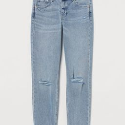 H & M - Girlfriend Regular Jeans - Blue   H&M (US)