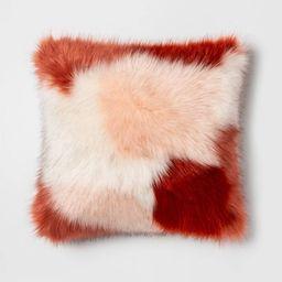 Square Color Block Faux Fur Throw Pillow Burgundy/Pink - Opalhouse™ | Target