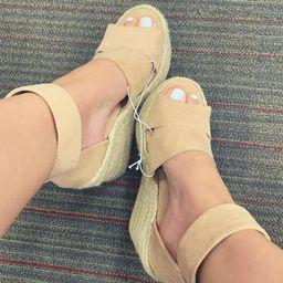 Women's Caroline Microsuede Ankle Strap Espadrille Wedge - Universal Thread™ | Target