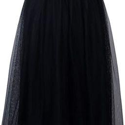 Joeoy Women's Elastic Waist Ballet Layered Princess Mesh Tulle Midi Skirt   Amazon (US)