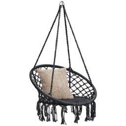 Best Choice Products Hanging Macrame Rope Swing Chair w/ Fringe Tassels - Black | Walmart (US)