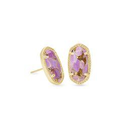 Ellie Gold Stud Earrings in Bronze Veined Lilac Magnesite   Kendra Scott