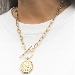 Pomina Gold Silver Chunk Chain Necklace Medallion Coin Pendant Toggle Necklace | Amazon (US)