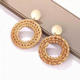 Woven Rattan Earrings, Handmade Boho Straw Wicker Braid Drop Dangle Earrings Lightweight Geometri... | Etsy (US)