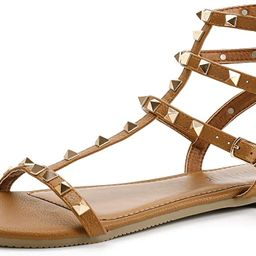 SANDALUP Rivets Studs Flat Sandals w Double Metal Buckle for Women's Summer Dress Shoes | Amazon (US)