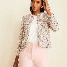 >Fringe Tweed Patch Pocket Jacket   Ann Taylor (US)