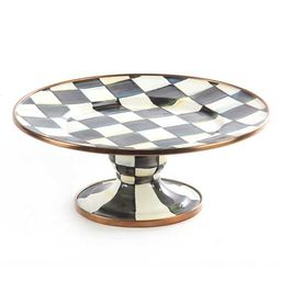 Courtly Check Enamel Pedestal Platter - Mini | MacKenzie-Childs