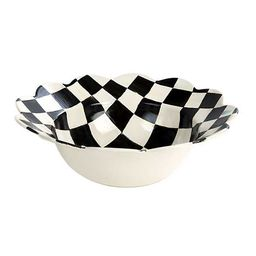 Courtly Check Enamel Petal Serving Bowl | MacKenzie-Childs