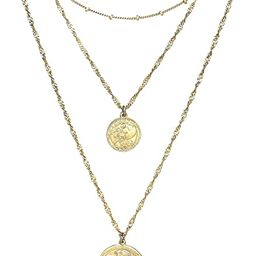 Boho Multi-Layered Medallion Gold Coin Necklace Cross Charm Pendant Necklace for Women | Amazon (US)