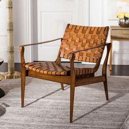 "Safavieh Couture Dilan Leather Safari Chair- Light Brown / Brown - 24.5""x30""x30""   Overstock"