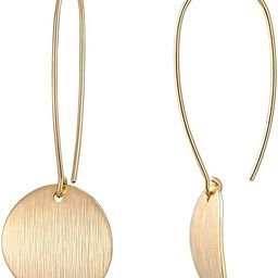 Circle Disc Dangle Drop Hanging Earrings Long Hoops Geometric Brushed Gold Round Curved 18K Gold ... | Amazon (US)