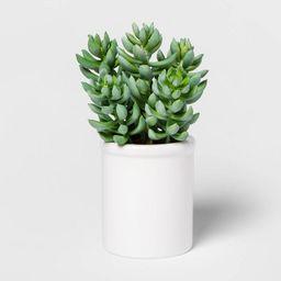 "8"" x 4"" Artificial Succulent in Ceramic Pot Green/White - Threshold™ | Target"