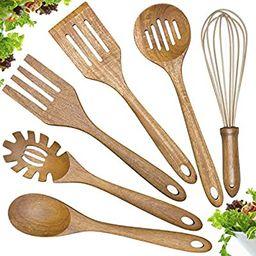 Wooden Cooking Utensils Set,Teak Wood Kitchen Utensils Set, 6-Piece Wooden Spoons for Cooking Spa... | Amazon (US)