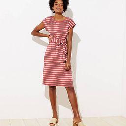 Stripe Ribbed Belted Midi Dress | LOFT | LOFT